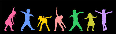 Happy joyful kids, little boys and girls doing exercise vector silhouette isolated on black background. Funny playing plane game. Spread hands flying symbol widespread hands open. Smiling children enj