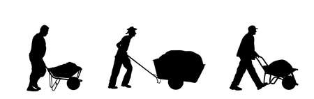 Construction workers with full wheelbarrow vector silhouette illustration. Man carrying loader with sand. Transportation carrying on cart. Worker with building material on site. Farmer pushing cart. Иллюстрация