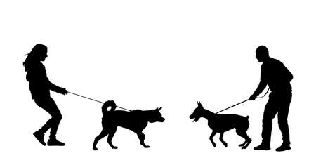 Owner girl and dog husky meeting boy with doberman vector silhouette illustration isolated on white background. Woman and man with dog on leash, outdoor friendship pet playing. Friendly approach game