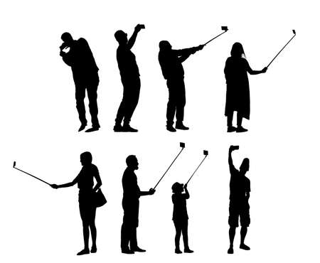 Selfie people tourists taking picture vector silhouette illustration isolated on background. Taking selfie hand hold stick with mobile phone.  Friend traveler fun. Man and woman family travel memories