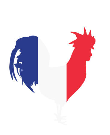 French flag over rooster vector silhouette isolated on white background. Republic of France national symbol flag over chicken male. Иллюстрация