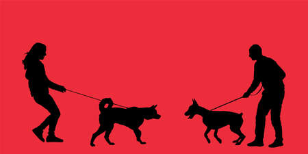 Owner girl and dog husky meeting boy with doberman vector silhouette illustration isolated on background. Woman and man with dog on leash, outdoor friendship pet playing. Friendly approach game active