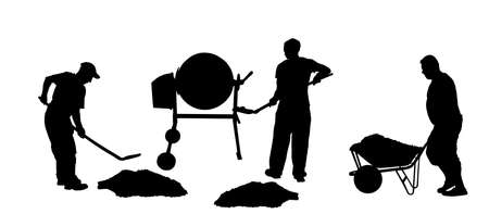 Workers crew with shovel put gravel in concrete mixer vector silhouette. Working on construction site. Laborer man with spade digging earth. Digger mining. Industry building new house. Wheelbarrow man