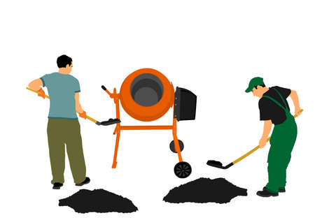 Workers crew with shovel put gravel in concrete mixer vector illustration. Working on construction site. Laborer man with spade digging earth. Digger mining. Manual industry building new house.