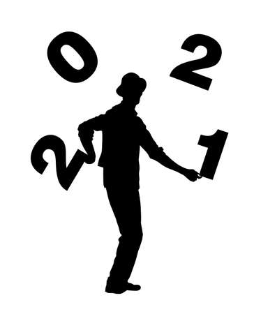 Performer artist acrobat juggling with numbers, juggler vector silhouette illustration isolated on white background. Happy New Year 2021 animator entertainment. Clown in circus. Street actor jester. Vectores