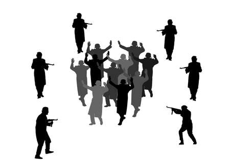 Soldiers with rifle defeated enemy and forced them to surrender. Warriors arrest in war action after battle. Soldiers captured and surrender with raised hands in height vector silhouette illustration.