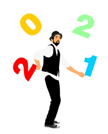 Performer Artist acrobat juggling with numbers. Happy New Year 2021 animator entertainment.  Juggler artist vector illustration isolated on white background. Clown in circus. Street actor jester. Иллюстрация