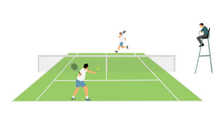Man tennis players vector silhouette illustration isolated on white background. Tennis match duel with judge on court. Sport competition. Sportsman recreation after work, anti stress therapy.