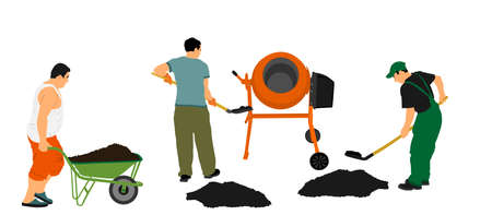Workers crew with shovel put gravel in concrete mixer vector illustration. Working on construction site. Laborer man with spade digging earth. Digger mining. Manual industry building new house. Vektorgrafik