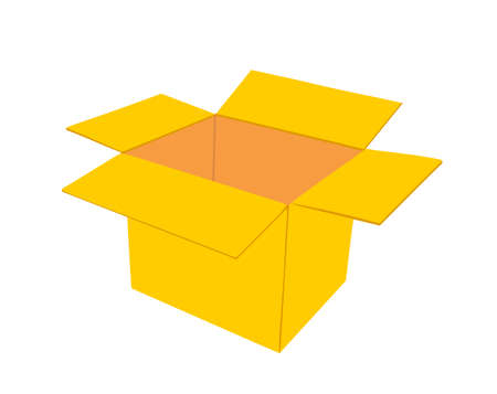 Open cardboard box vector illustration isolated on white background. Move transport concept. Shipping goods transportation. Иллюстрация