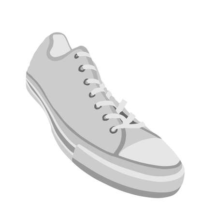 Tying sports shoes vector illustration isolated on white background. Sneakers sports wear. Modern foot wear. Elegant equipment for gym and outdoor activity. Иллюстрация