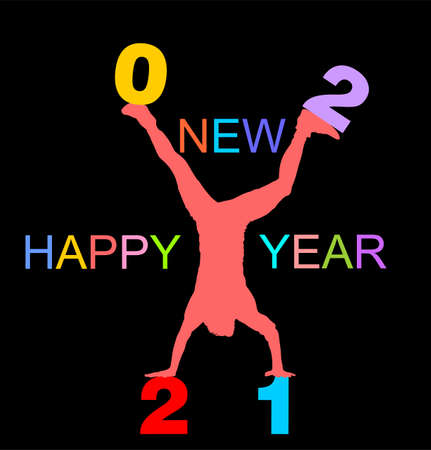 Acrobat man wish Happy New Year 2021 doing cartwheel exercise. Handstand position vector silhouette illustration. Standing on hand pose. Hand stand athlete performer. Stunt exercising. Иллюстрация