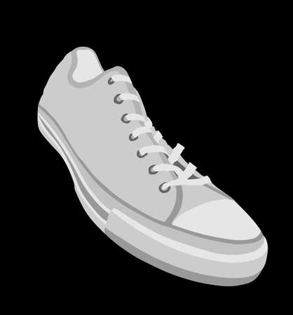 Tying sports shoes vector illustration isolated on black background. Sneakers sports wear. Modern foot wear. Elegant equipment for gym and outdoor activity. Иллюстрация
