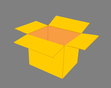 Open cardboard box vector illustration isolated on background. Move transport concept. Shipping goods transportation. Иллюстрация