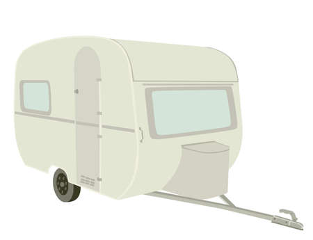 Camping trailer vector illustration isolated on white background. Camp moving home. Outdoor weekend activity for tourist family. Mobile house for travelers people.