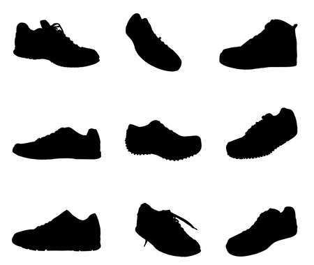 Collection of tying sports shoes vector silhouette illustration isolated on white background. Sneakers sports wear. Modern foot wear. Elegant equipment for gym and outdoor activity.