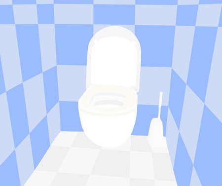 Toilet bowl vector illustration. Bathroom interior, floor and walls.