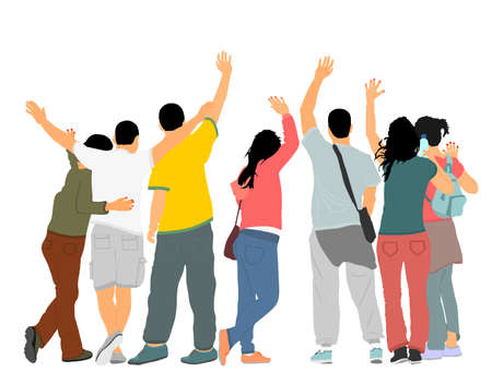 Embracing student friends waving hands vector illustration isolated on white. Happy boys and girls tourists hand wave saying hi. Send off sign people. Young couples in love enjoy in summer travel.