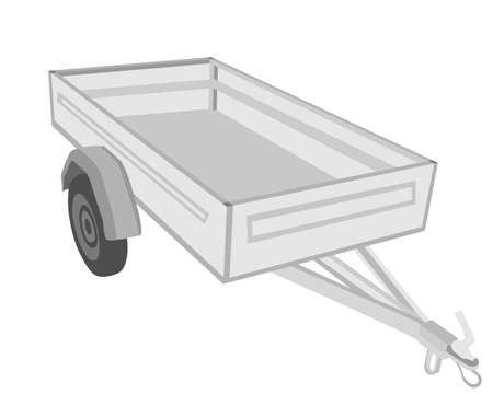 Open car trailer vector illustration isolated on white background. Trailer for passenger cars. Shipping cargo method by road transportation.