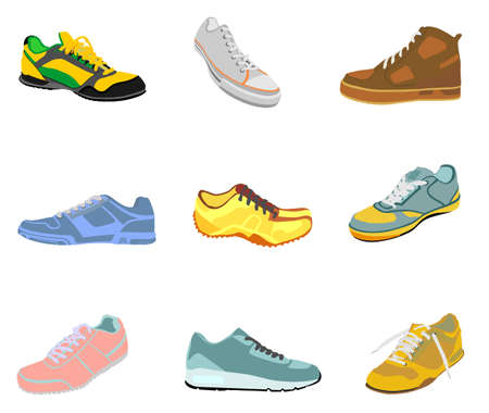 Collection of tying sports shoes vector illustration isolated on white background. Sneakers sports wear. Modern foot wear. Elegant equipment for gym and outdoor activity.
