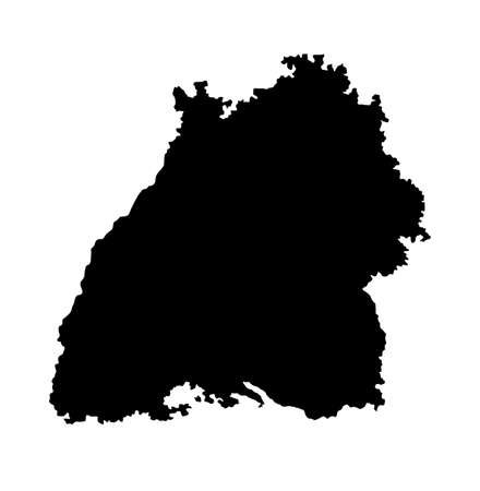 Bavaria vector map silhouette illustration isolated on white background. Bayern province in Germany. Bavarian map, German state. Иллюстрация