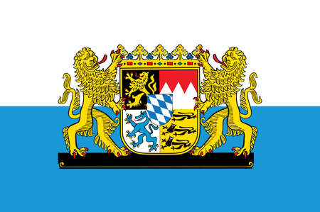 Great coat of arms on flag of Bavaria, Germany.  German province symbol, emblem. Bavarian flag with coa.