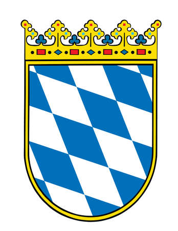 Coat of arms of Bavaria, Germany.  German province symbol, emblem. Bavarian coa. Иллюстрация