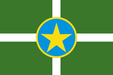 Jackson city flag vector illustration, town in Mississippi, United States of America. USA city flag. Иллюстрация