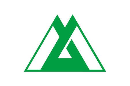 Toyama flag vector illustration.  Japan prefecture symbol.