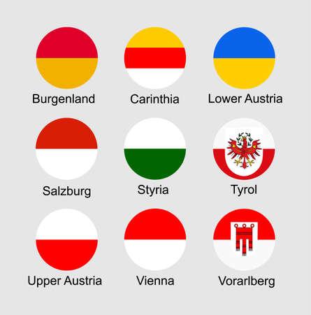 States flags of Austria regions set: Burgerland, Carinthia, Lower Austria, Salzburg, Styria, Tyrol, Upper Austria, Vienna, Vorarlberg flaf.