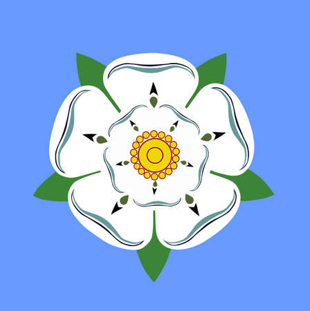 West Yorkshire rose flower from flag vector illustration isolated on white background. United Kingdom province. England territory.