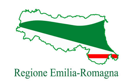 Reggio Emilia map and flag. Regione Emillia Romagna map flag vector illustration, Italy province.