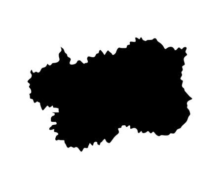 Aosta Valley vector map silhouette illustration isolated on background. Italy province region shape.