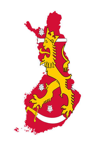 Finland vector map silhouette illustration isolated on white background. Coat of arms of Finland over map.