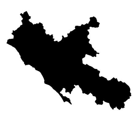 Lazio map silhouette vector illustration isolated on white background, Italy province. Lacio region.