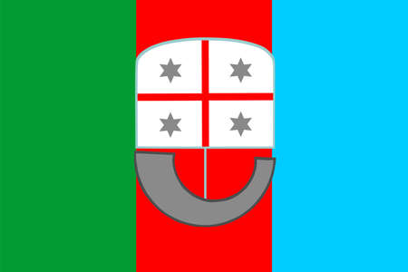Liguria flag with coat of arms vector illustration, province in Italy. Italian region symbol, ligurian flag.