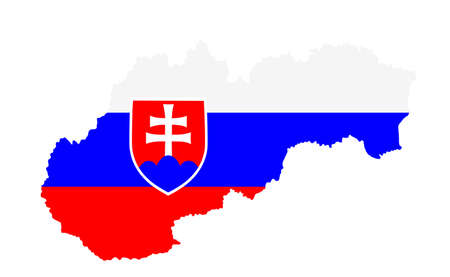 Slovakia vector map silhouette isolated on white background. Slovakia map flag with coat of arms symbol. EU country. Иллюстрация