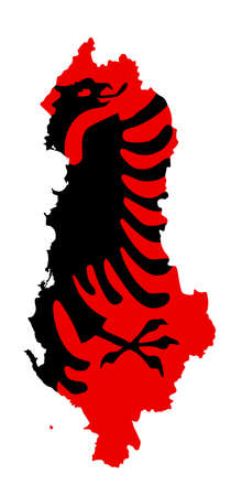 Republic of Albania vector map silhouette and vector flag over map silhouette illustration isolated on white background. Balkan country, state in Europe. Coat of arms of Albania over map.