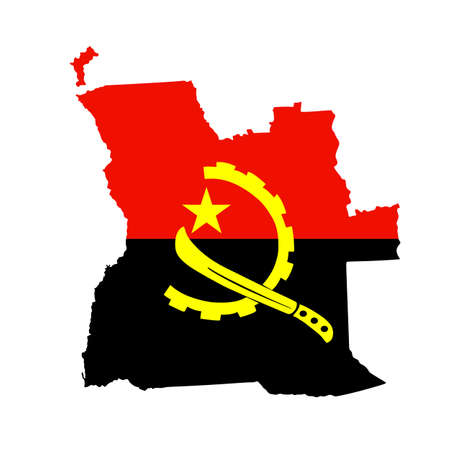 Republic of Angola map flag vector silhouette illustration isolated on white background. National symbol flag of Angola over map.
