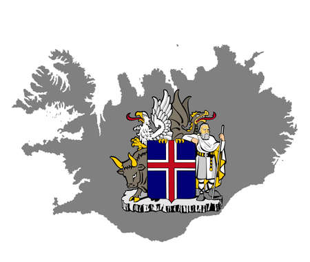 Iceland map vector and coat of arms of Iceland, national symbol. Иллюстрация