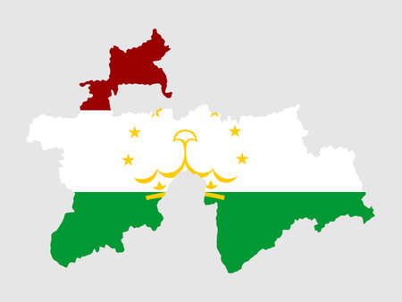 Tajikistan vector map and vector flag silhouette illustration isolated on white background.