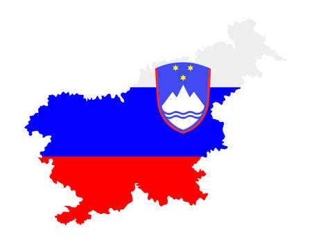 Slovenia vector map flag silhouette illustration isolated on background. Vector map of Europe Union member, EU state. Slovenia coat of arms. Иллюстрация