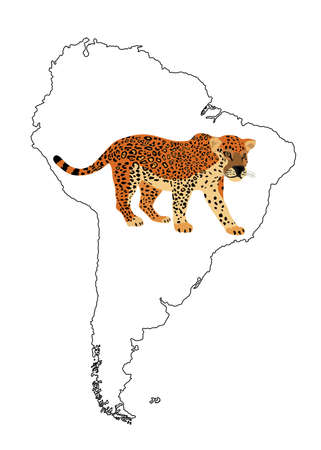 Wild cat jaguar vector silhouette illustration on South America map vector silhouette contour isolated on white background.
