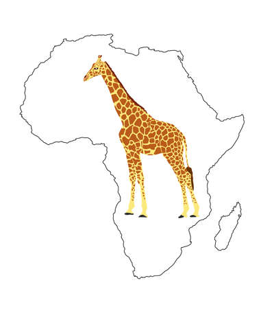 Continent map of Africa vector contour silhouette  with giraffe. Travel invitation card for Africa nature. Savannah safari trip attraction with tall animal giraffe illustration. Tourist traveler trip. Иллюстрация