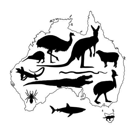 Animals from Australia collection vector silhouette. Australian map vector silhouette contour illustration isolated on white background. Continent symbol.