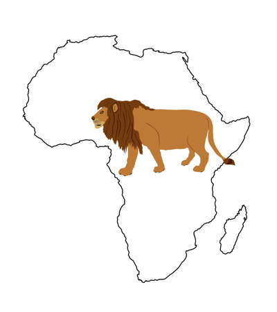 Continent Africa map contour silhouette with lion vector illustration isolated on white background. Animal king. Big cat. Pride of Africa. Leo zodiac symbol. Wildlife predator.