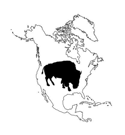 Bison vector silhouette illustration isolated on Northern America map silhouette contour on white background. Portrait of Buffalo male, symbol of America. Strong animal, Indian culture. Иллюстрация