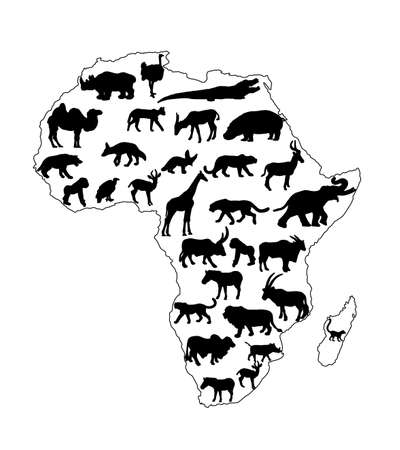 Continent map of Africa vector contour silhouette with wild animals. Travel invitation card for Africa nature. Savannah trip tourist attraction with giraffe, lion, elephant, rhino, hippo, zebra