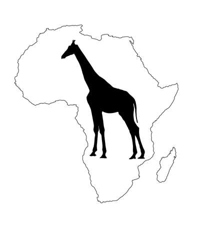 Continent map of Africa vector contour silhouette  with giraffe. Travel invitation card for Africa nature. Savannah safari trip attraction with tall animal giraffe silhouette. Tourist traveler trip.