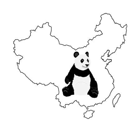 Sitting panda vector illustration on China map contour silhouette isolated on white background. Panda bear. Bamboo eater from China. Cute mascot. Zoo attraction.